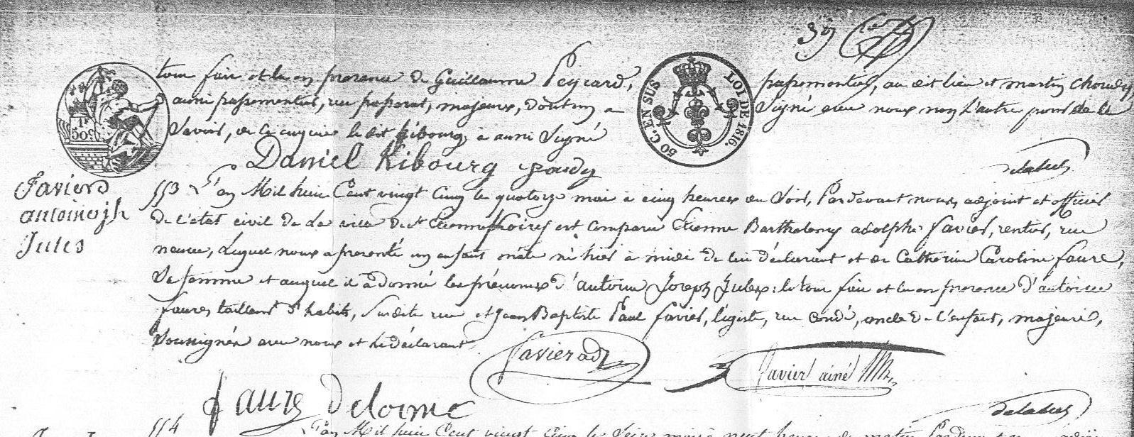 ° 1825 FAVIER Antoine Joseph Jules